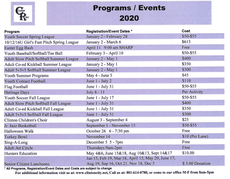 Programs Events 2020