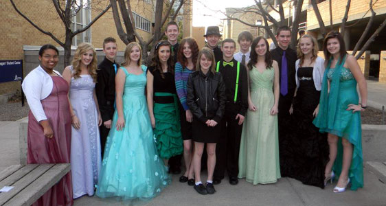 Youth Council members dressed up for a formal dance.
